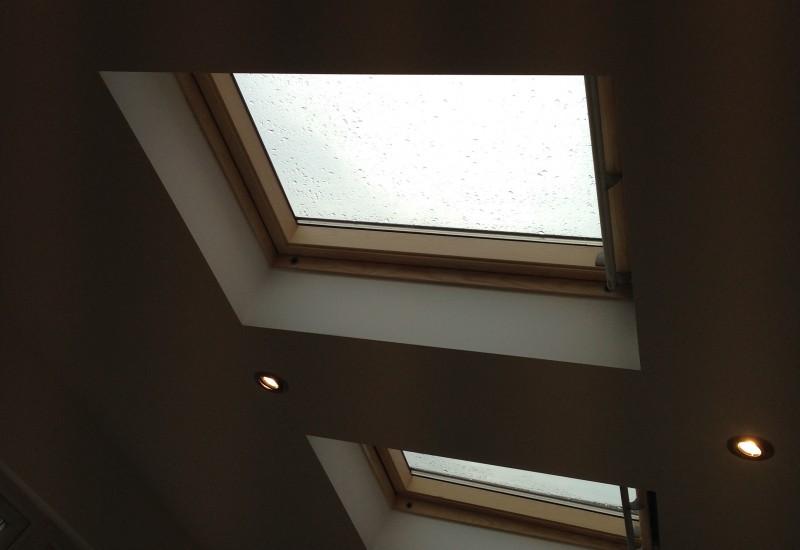 rain on new skylights crosby