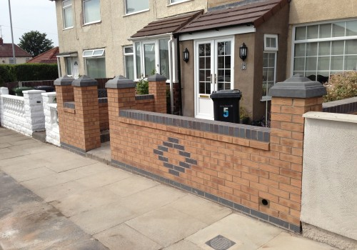 Front view of completed Bootle Garden Wall