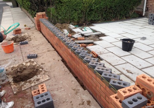 Midway construction of Dog tooth wall Aintree