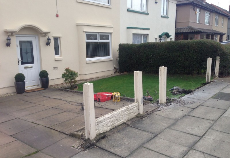 Before picture of porch, driveway and wall job Clubmoor