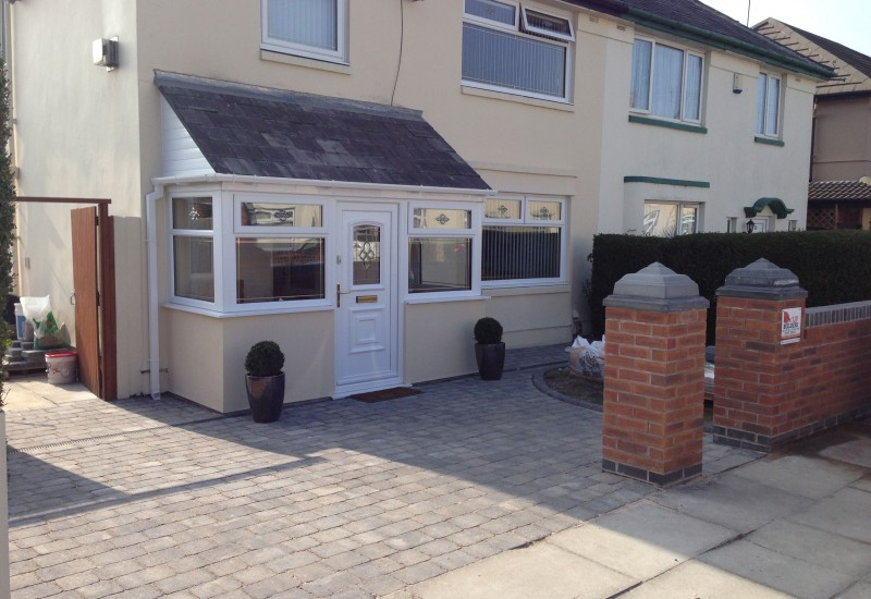 Front of finished porch driveway and wall Clubmoor