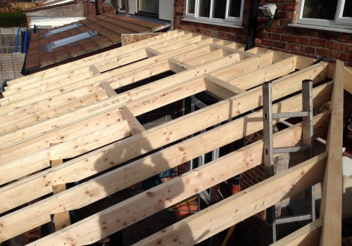 Top view of wood beams Extension crosby