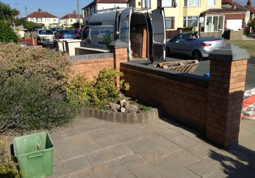 Paving and Garden wall corner Bootle