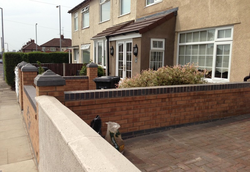 Side view of Bootle Garden Wall