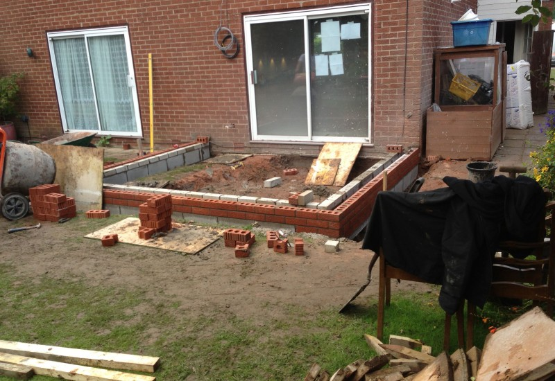 Laying the first few bricks Orangery Congleton