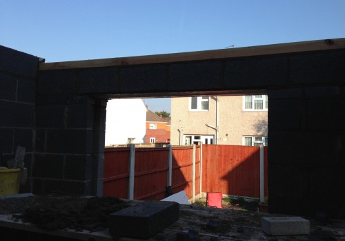 Looking from inside a rear extension
